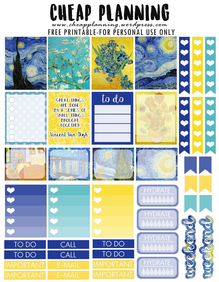 FREE Printable Van Gogh Planner Stickers by Cheap Planning                                                                                                                                                                                 More