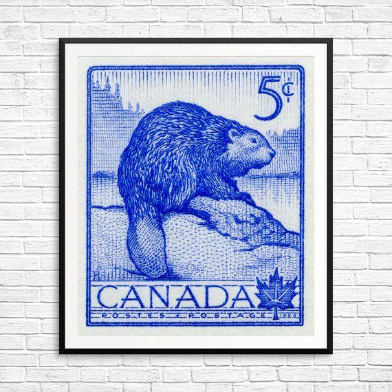 Beaver, beavers, Canada beaver, beaver dam, cute beavers, Canada North, postage stamp art, Canada poster, Canada art print, retro Canadiana