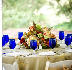 blue glasses with natural linens