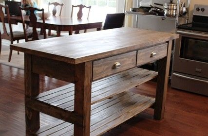 DIY Rustic Kitchen Island  New house ideas  Pinterest