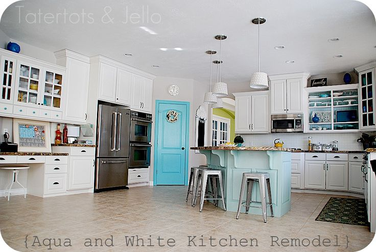 Will be my kitchen -the granite (stained butcher block) and + more teal!