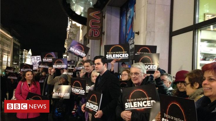 The Vue cinema says the event contradicted its values, but protesters accuse it of censorship. Kudos to the cinema for refusing to show this ignorant film. You surely can't cure stupid [or being gay].