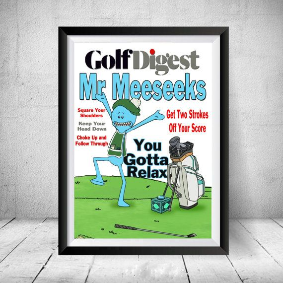 Mr Meeseeks Golf Digest Cover Rick and Morty Adult Swim Cartoon Art Framed Print #RickandMorty #PickleRick #MrMeeseeks #gift #giftidea