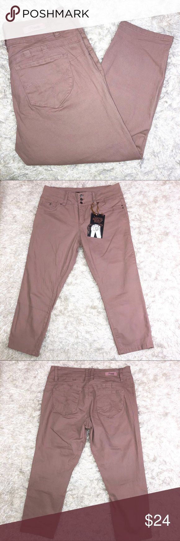 """Dusty Rose Pink Capris Size 14 Wanna Betta Butt? Pink Capri cropped pants.  98% cotton, 2% spandex  Size 14  Waist 34"""" Rise 10.5"""" Inseam 23"""" New  Soft and comfy with stretch Pants Capris"""