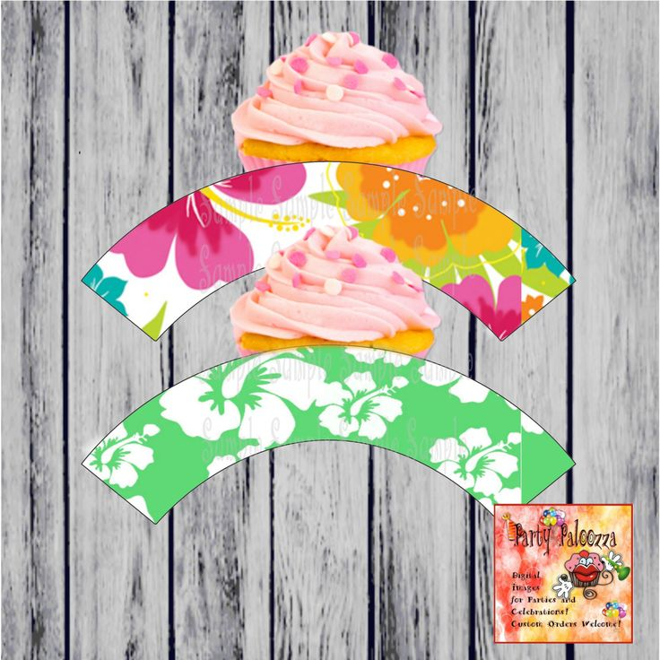 Hawaiian  Luau Party Cupcake Wrapper by PartyPaloozza on Etsy
