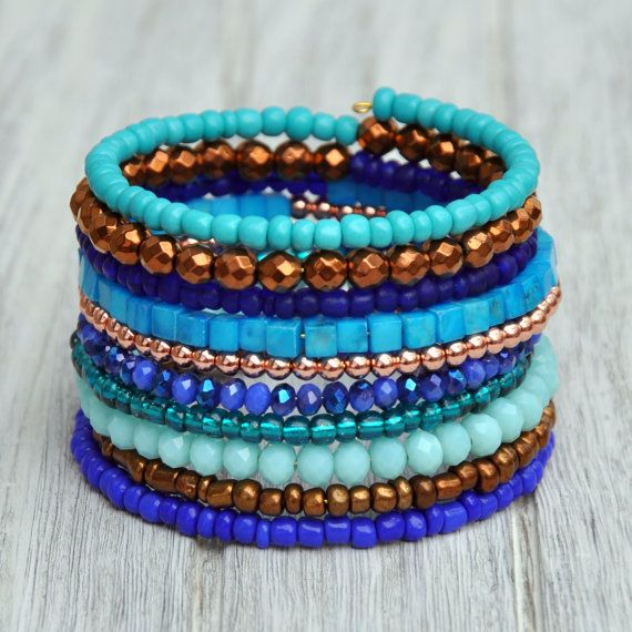 Blue Bronze & Turquoise Boho Wrap Bracelet by HoleInHerStocking coachella, festival fashion, boho jewelry, bracelet, blue, bohemian
