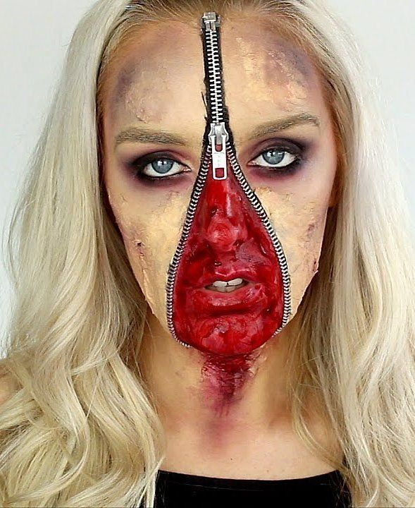 Unzipped Zipper Face Halloween Makeup