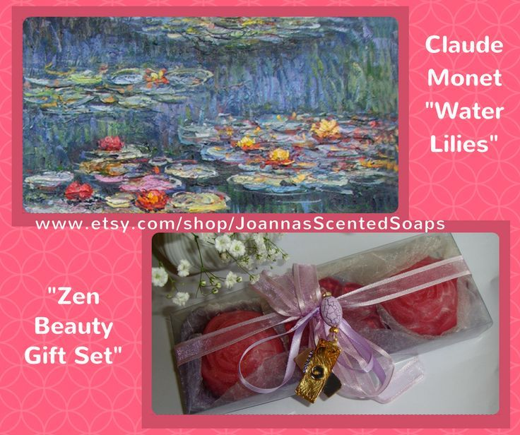 "Water Lilies (or Nymphéas) is a series of approximately 250 oil paintings by the famous Impressionist painter Claude Monet. Inspired by this painting, I created my ""Zen Beauty Gift Set"", a wonderful Purple - Lilac - Violet Zen Handmade Gift Set with 3 pink Luxury Scented Soaps in rose scent, and a very elegant Handmade Jewelry Necklace (Gold-color and Violet-Purple) in the packaging. A special gift for your Mother, your Wife, your Girlfriend, your Daughter, your Grandmother, Your Aunt, any…"