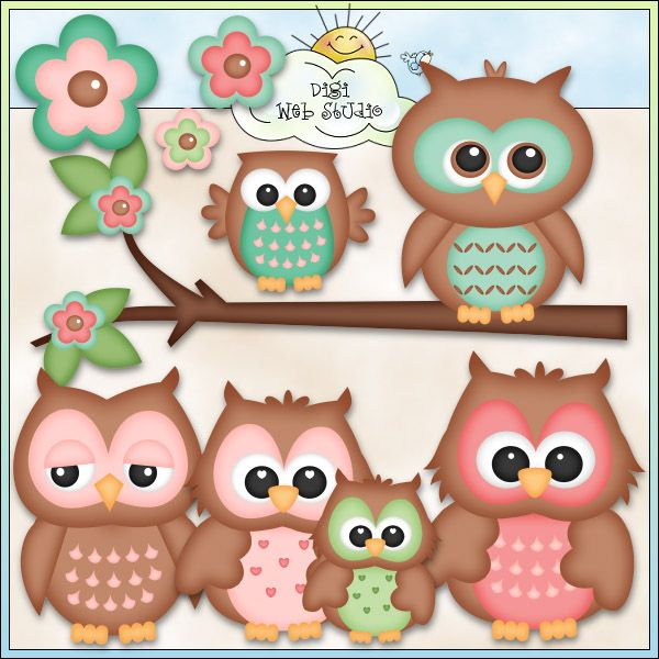 Cute Owls 2 - NE Kristi W. Designs Clip Art : Digi Web Studio, Clip Art, Printable Crafts  Digital Scrapbooking!