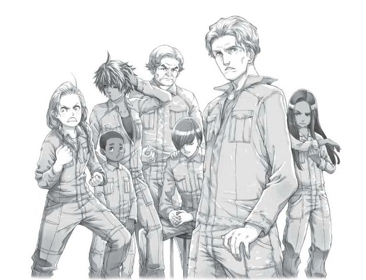 The Hostages left to right: Reagan Holt, Phoenix Wizard, Nellie Gomez, Alester Oh, Ted Starling, Fiske Cahill and Natalie Kabra
