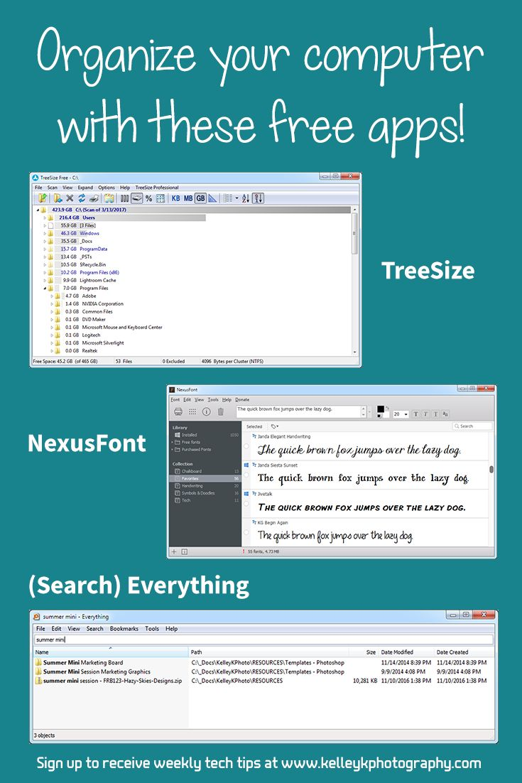 Try these free apps to help keep your files and fonts organized on your computer. Learn how TreeSize, Search Everything, and NexusFont can help you.