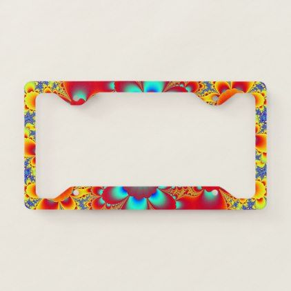 Floral Fractal License Plate Frame - diy cyo customize create your own personalize