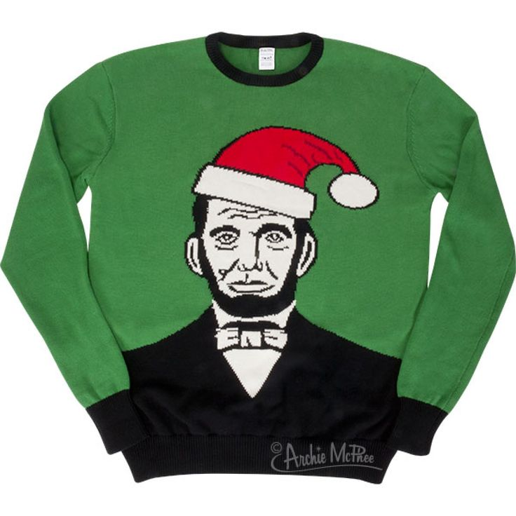 "archiemcphee: "" This year's Archie McPhee Christmas Sweater is here! Santa Lincoln (or is it Abraham Claus?) decorates this ugly, one-size-fits-none, bulky sweater. Buy one here """