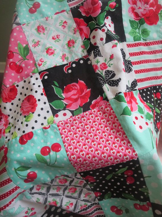 Patchwork Blanket Baby Girl Blanket  Retro Floral. baby shower gift, baby girl gift by PreciousandPink