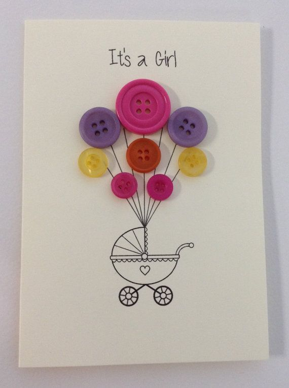 Handmade Its a girl card with envelope. C6 size.    Array of colours and size buttons.    Please note that each card may vary slightly as each