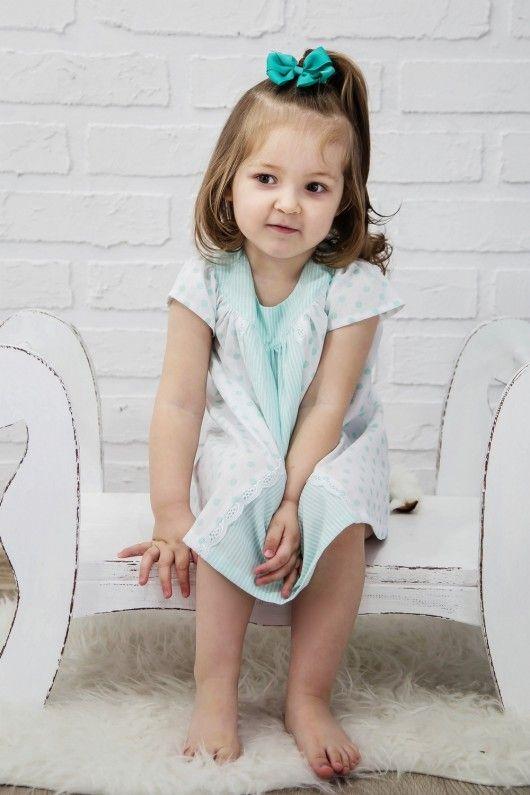 Sukienka bawełniana biało-miętowa