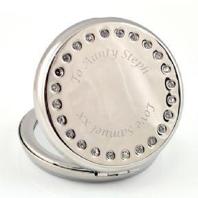 Circular Silver & Diamante Compact Mirror