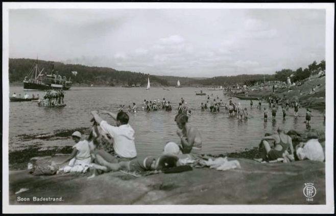 Soon i Akershus ca 1930? Badeliv og båter Foto: Oppi
