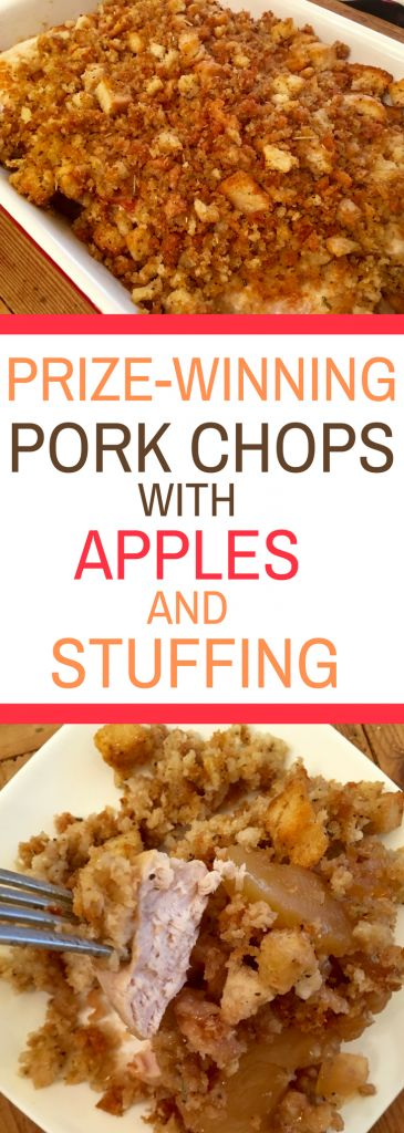 Prize-Winning Pork Chops with Apples and Stuffing - easy dinner recipe that tastes delicious.  Cinnamon apples and savory stuffing combined with pork chops.