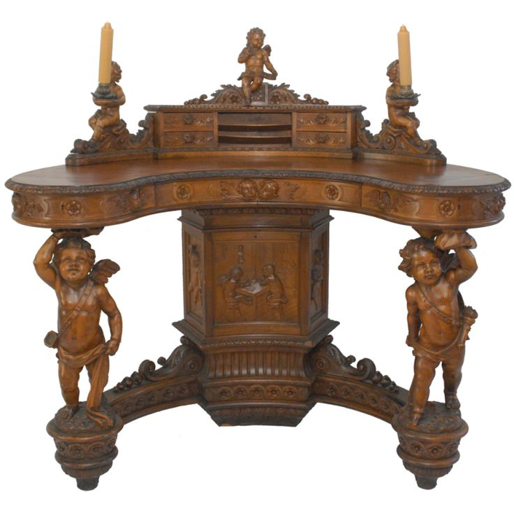 Important Renaissance Revival Walnut Desk by Valentino Besarel, 19th Century   From a unique collection of antique and modern desks and writing tables at https://www.1stdibs.com/furniture/tables/desks-writing-tables/ Important Renaissance Revival Walnut Desk by Valentino Besarel, 19th Century  Offered By Stephen's Antiques, Inc.  $65,000