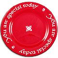 Red Plate - we use this for birthdays, Sacraments, feast days, guests for dinner, like our parish priest, or just because!  Record events used for on the back of the plate with the included marking pen.