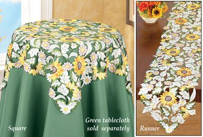 Embroidered Floral Sunflower Table Linens