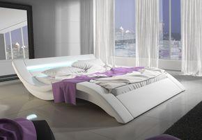 SOLDES - Chambre - Lit 160x200 cm en bois massif et simili cuir avec Led coloris blanc - Comforium