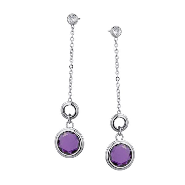 Stainless Steel, Cubic Zirconia and Amethyst Drop Earrings.