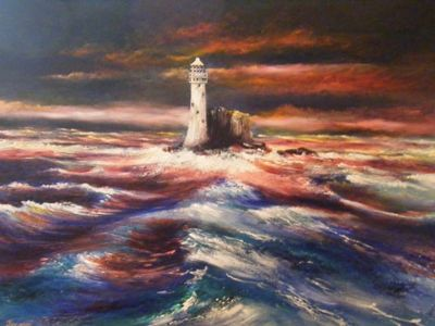 Title:  'The Fastnet' Oil on canvas Size 24 x 18 inches (canvas) Unframed Euro 780   SOLD