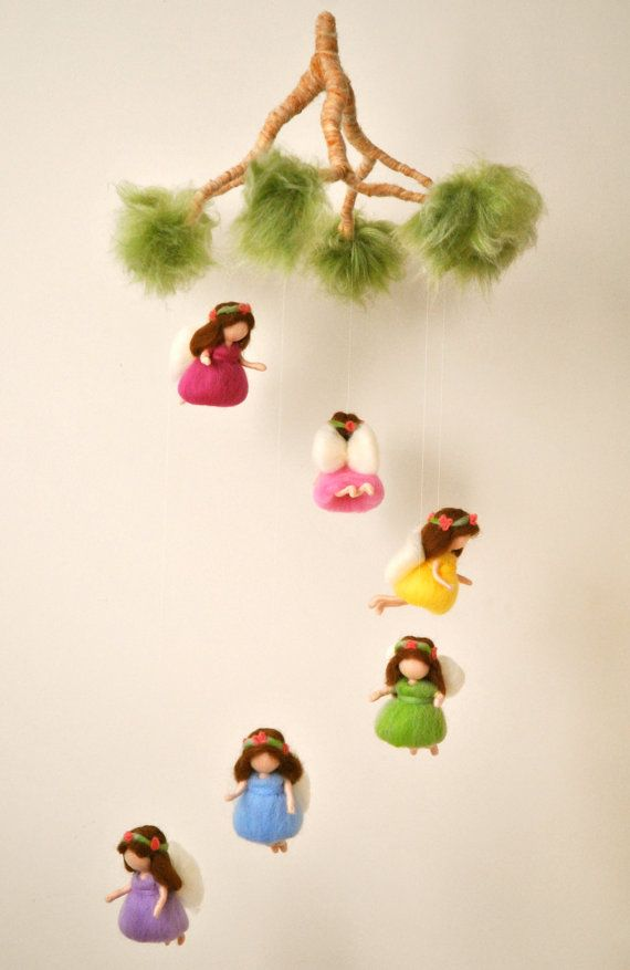 Rainbow mobile Waldorf inspired needle felted dolls: rainbow fairies
