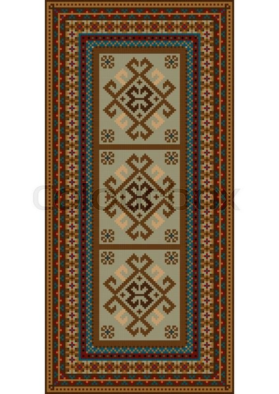 Stock vector of 'Vintage motley carpet with ethnic ornaments and beige color on the center'
