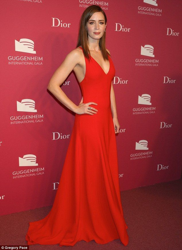 Emily Blunt in Dior Couture at the Guggenheim International Gala Dinner in New York on November 5, 2015
