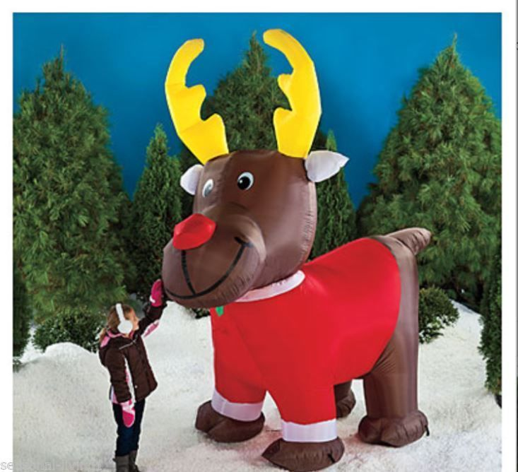 Video animated 10 ft airblown moose christmas decoration for Airblown christmas decoration