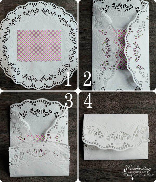 Steps for Valentine DIY, Doily Envelope Tutorial