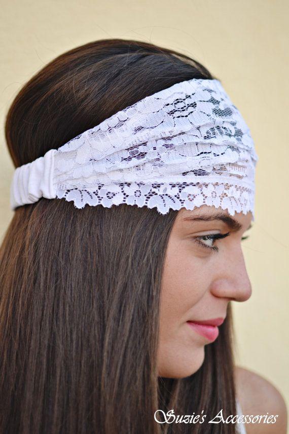 Lace Headband White Headband Bohemian by SuzannasAccessories