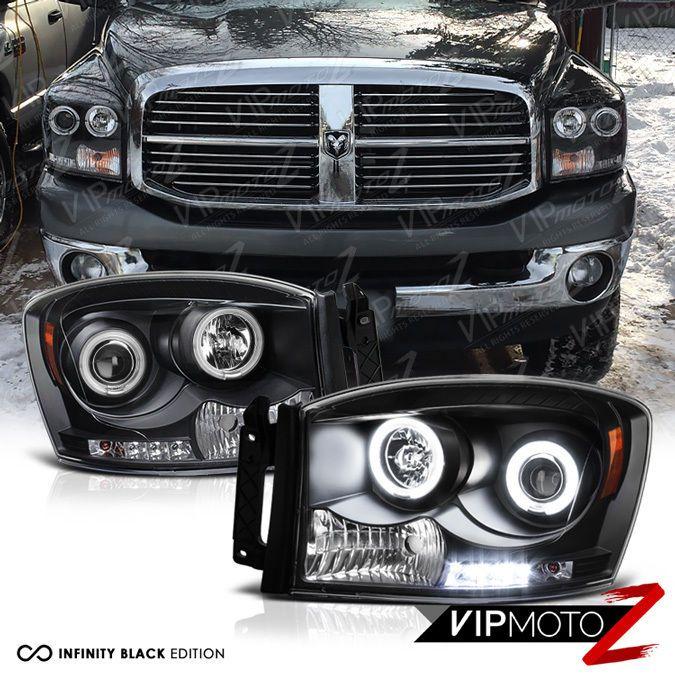 Lovely CCFL Halo Angel Eyes LED Projector Black Headlight Dodge RAM PICKUP TRUCK