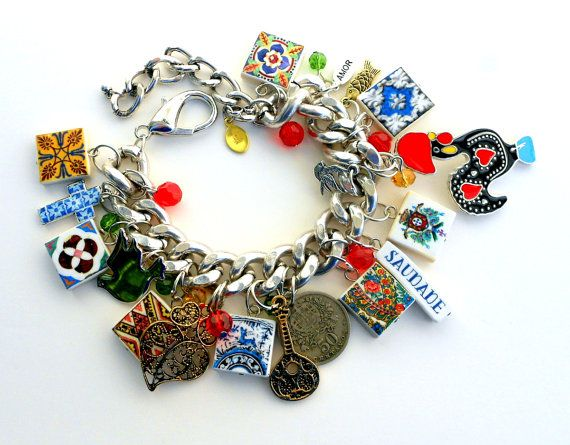 Portugal Antique Azulejo Tile Rooster Galo CHARM BRACELET by Atrio, $100.00