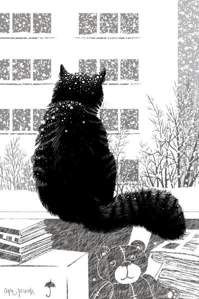 Winter cat painting. Anna Pinchuk - The First Snow