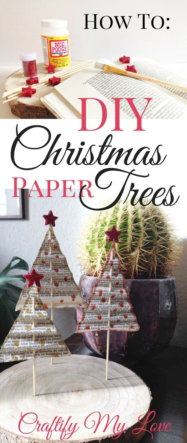 Paper Christmas Tree from Vintage Books