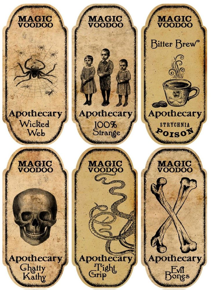 Halloween 6 Large Magic Voodoo Apothecary Bottle Labels Stickers Scrapbooking | eBay