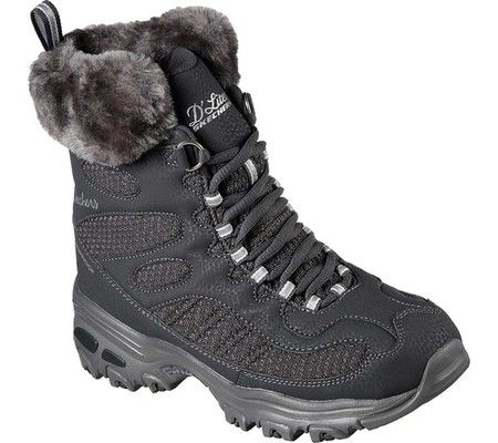 Women's Skechers D'Lites Snow Plaza Mid Calf Boot - Charcoal with FREE Shipping & Exchanges. Sporty classic looks and apres-ski comfort combine into the SKECHERS D'Lites - Snow Plaza Mid Calf