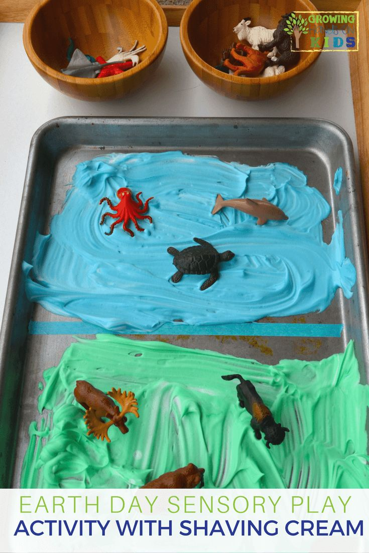 Earth day sensory play activity with shaving cream and miniature animals. via @growhandsonkids
