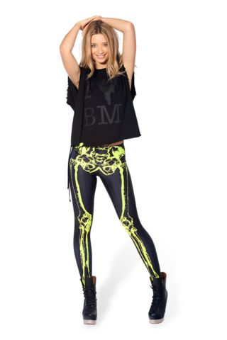 Leg Bones Neon Yellow Leggings L
