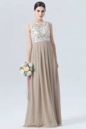 Elegant Sand Chiffon with Lace Top A-line Long Bridesmaid Dress in ... 3849c63d0f85