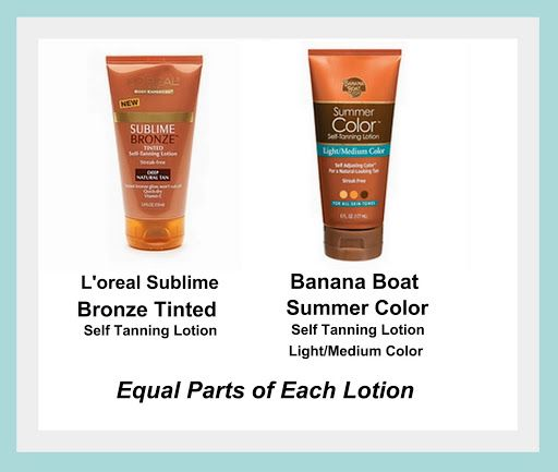 Saw this tip…tried this tip… LOVE the results. Always use Banana Boat (fave) but adding Loreal made it even better.  Recipe for the Best Self Tanning Lotion...