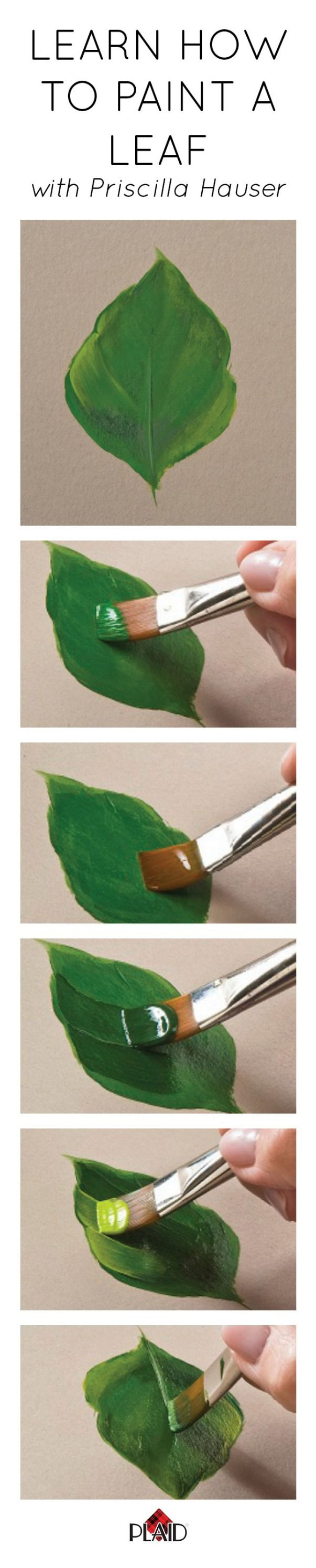 OLearn how to paint a leaf with Priscilla Hauser! Super easy step by steps #plaidcrafts #DIY