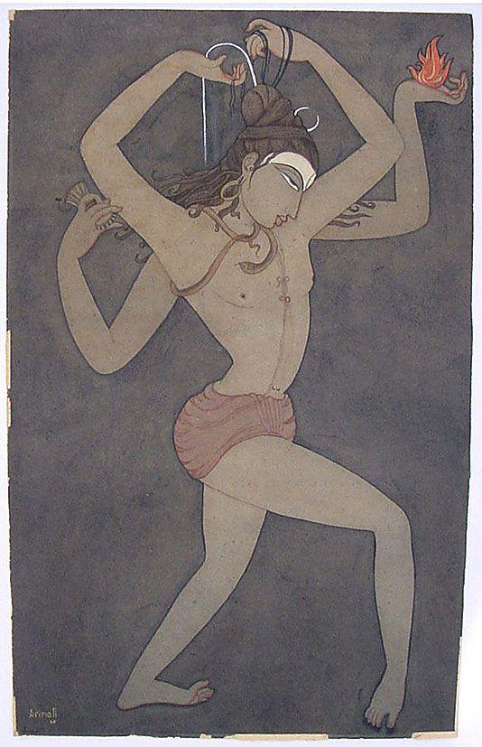 "Shiva, Bearer of the Ganga"" (artist's title Shiva Nataraja). 1947 by Y. G. Srimati  (Indian, 1927–2007). Watercolor, graphite underdrawing on wove paper."