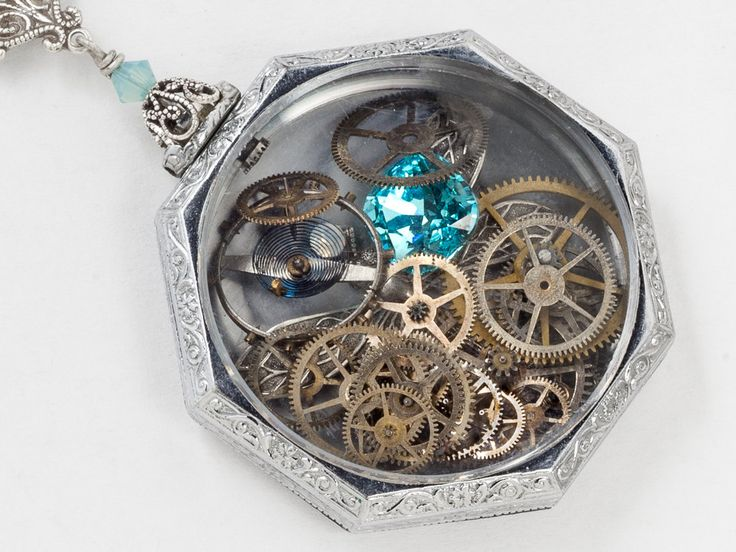 Antique Silver Pocket Watch Case Necklace with Dragonfly Charm Gears and Blue Topaz Crystal Engraved Locket Steampunk jewelry
