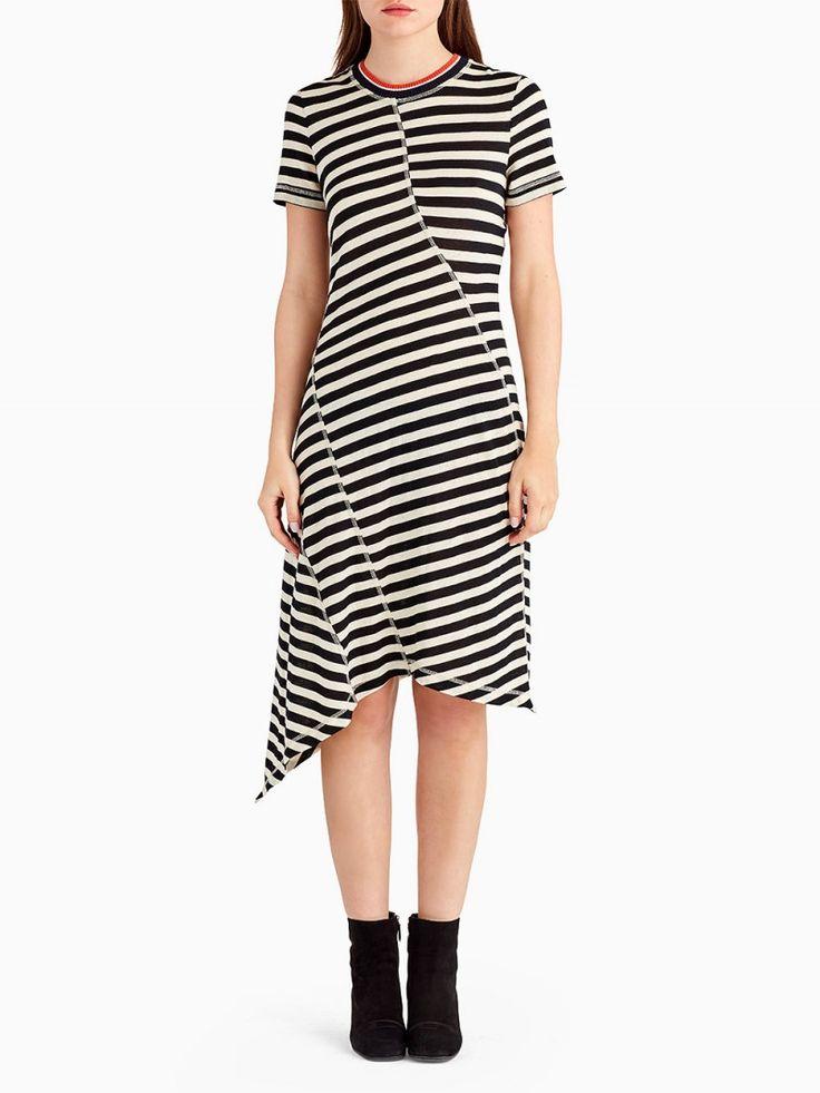 Short Sleeve Striped Jersey Dress