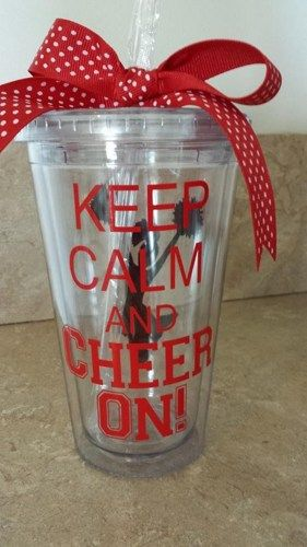 Insulated Tumbler Keep Calm and Cheer On Cheerleader | grammeshouse - Housewares on ArtFire